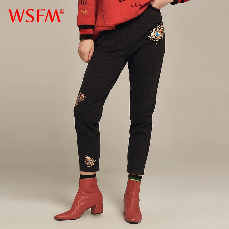 【冬季上新】五色风马中国风冬季九分裤刺绣小脚裤女休闲W18D8235