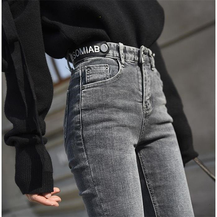 Spring and Summer 2019 Sexy High Waist Nine-cent Jeans Women's New Korean Simple Bottom Pants Slim Pencil Pants