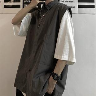 Korea studios 夏季潮流ins韩版无袖翻领衬衫休闲背心马甲男女潮图片