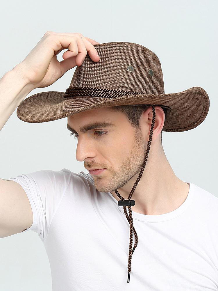 美国西部牛仔帽男士夏天防晒户外遮阳太阳爵士百搭夏出游钓鱼帽子