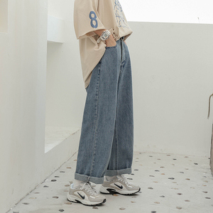 Large size women's winter new loose foreign style 260 pounds fat sister fall sense jeans wide leg pants mopping pants tide