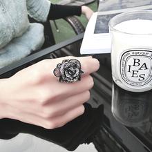 韩款时尚复古玫瑰花戒指女潮的个la12百搭食ll约关节戒指
