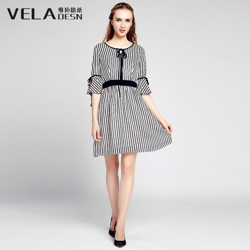 维拉德桑秋装五分荷叶袖系带收腰连衣裙时尚竖条纹显瘦显白雪纺裙
