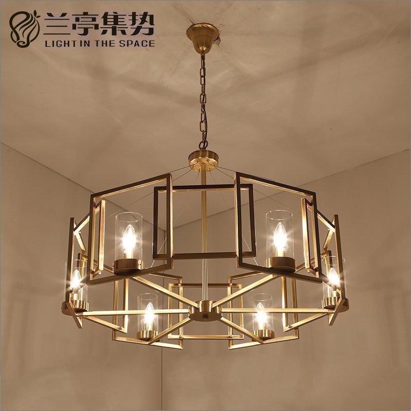 兰亭集势原创后现代美式简约创意铜玻璃设计师样板房客厅卧室吊灯