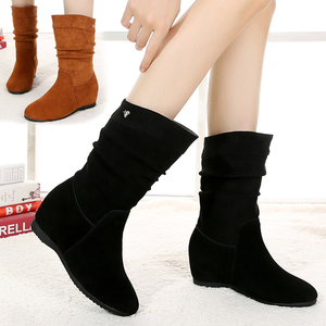 2019 autumn and winter boots wedges and frosted leather inner boots