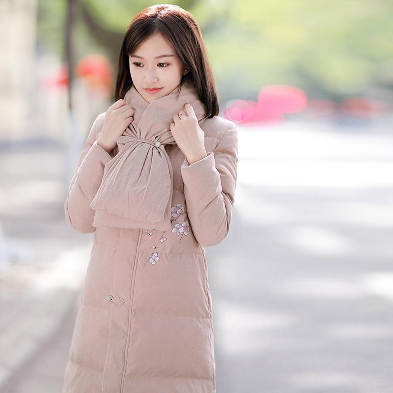 伶俐柠檬80091羽绒服文艺范中国风原创长款手绘复古现货