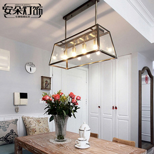 安朵北欧loft复古工业风吊灯铁艺创意美式个性有机玻璃箱餐厅吊灯