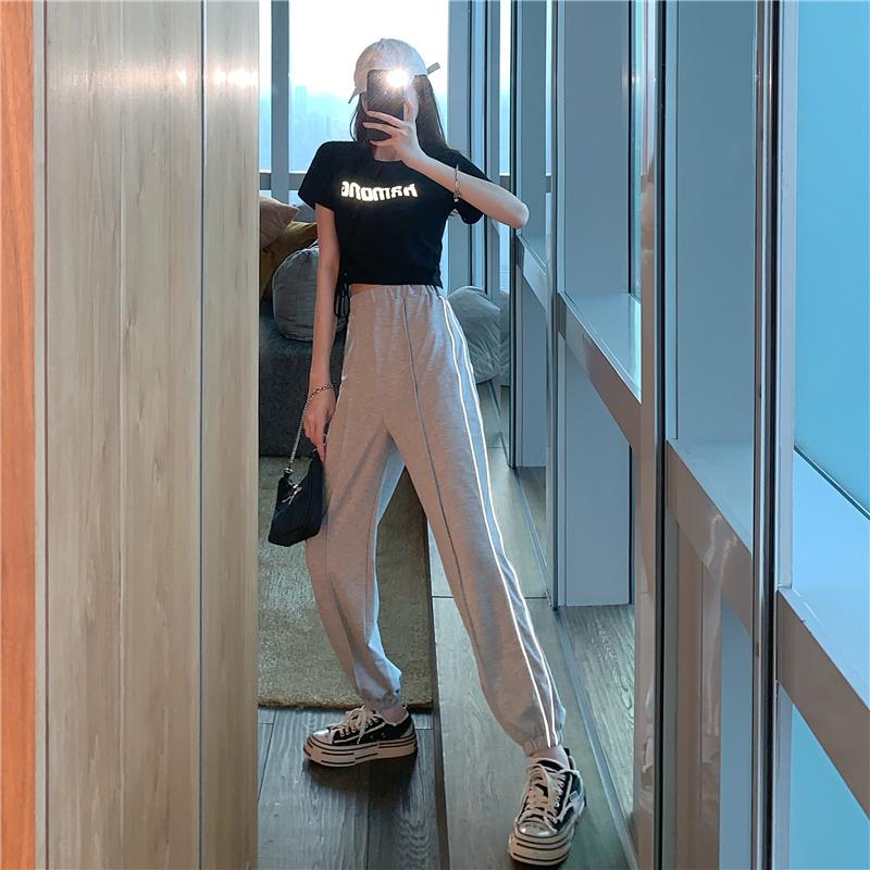 实拍实价韩版个性纯色休闲T恤套装女+高腰束脚显瘦裤子两件套-Lan Lan-