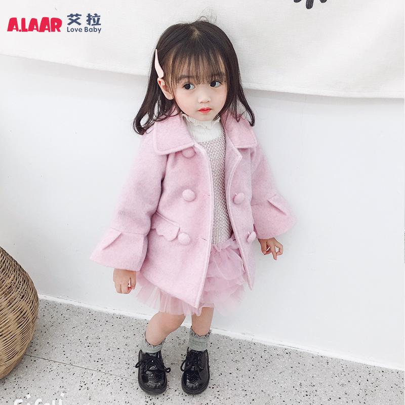 1-3-5岁女童冬款韩版纯色呢子衣2-4小女孩幼儿长袖外套宝宝呢大衣