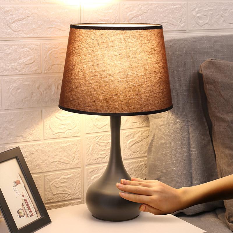 美式台灯卧室床头灯 现代简约感应灯温馨北欧台灯 可调光触摸台灯-宅品照明