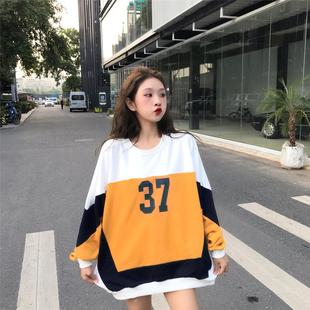 拼色百搭秋款上衣服新款韩版休闲宽松运动学生卫衣女装2019新款潮