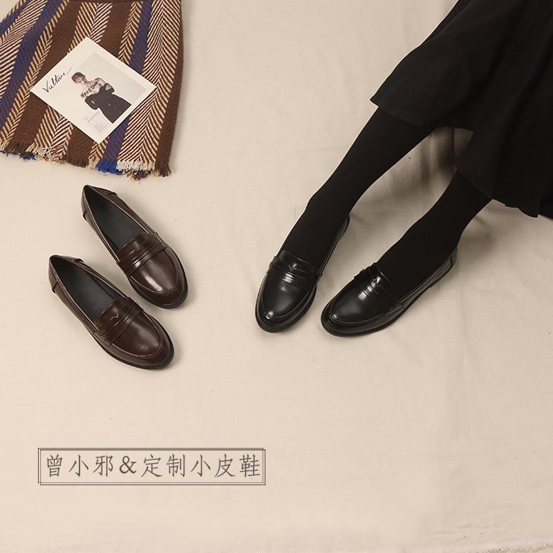 [¥86]英伦风女士鞋子2020春季新款小皮鞋学生韩版百搭大码加绒粗跟单鞋