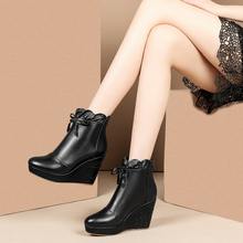 秋冬式真皮短靴女士坡跟厚底及su11靴圆头ou皮靴子牛皮女靴