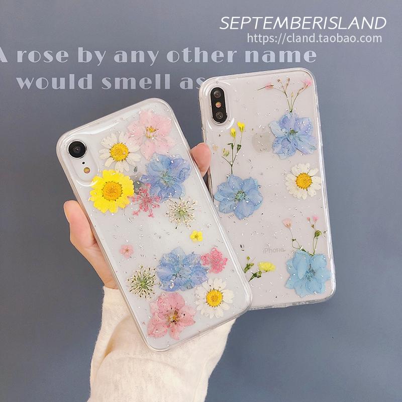 花朵干花iPhoneXS Max手机壳透明7P滴胶8p全包12壳11 Pro苹果XR