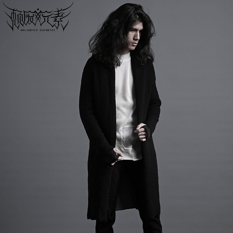 Decadent elements original design coarse knitted cardigan Cape fashion men's robe coat individual black and white simple sweater
