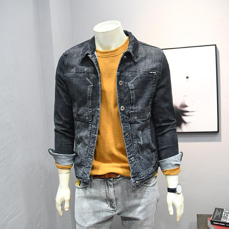 日系复古多口袋翻领牛仔夹克外套男士春秋新款短款青年修身牛仔衣