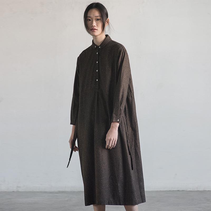 旅途原品 羊毛肌理衬衣式复古连衣裙 原创设计系带中长裙[雅白]