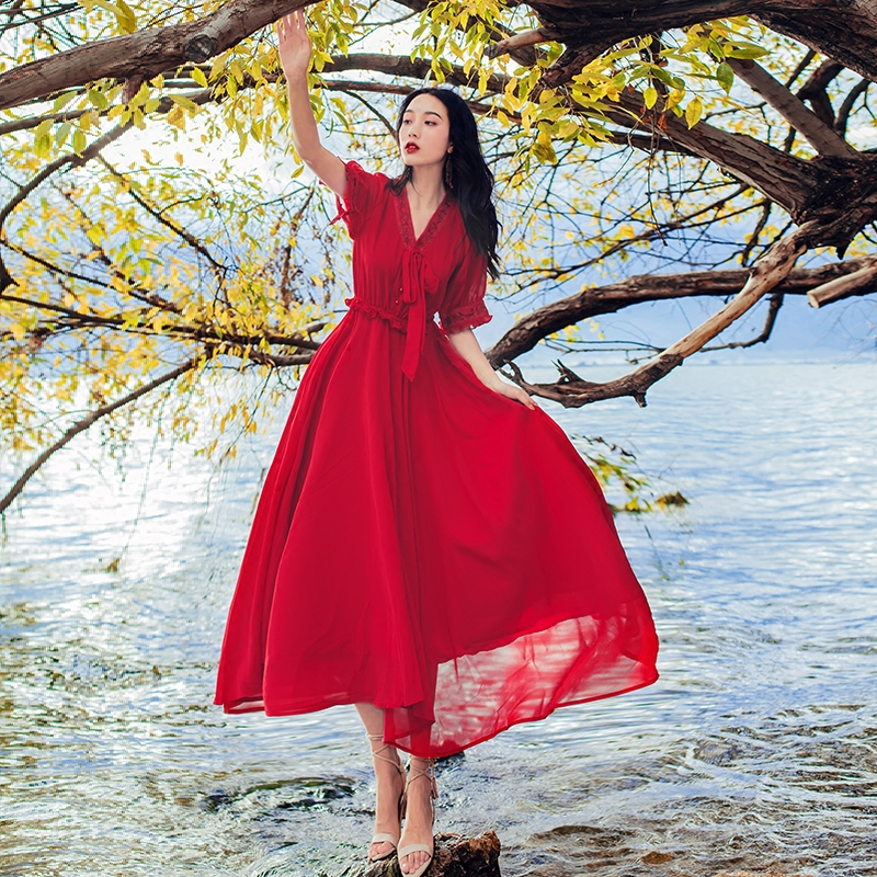 复古气质红色雪纺连衣裙西藏青海旅游海边度假沙滩大摆长裙子女夏