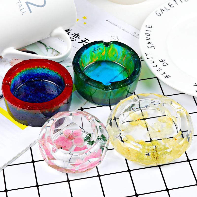 水晶滴胶diy手工制作环氧树脂硅胶模具镜面高透烟灰缸材料包套装