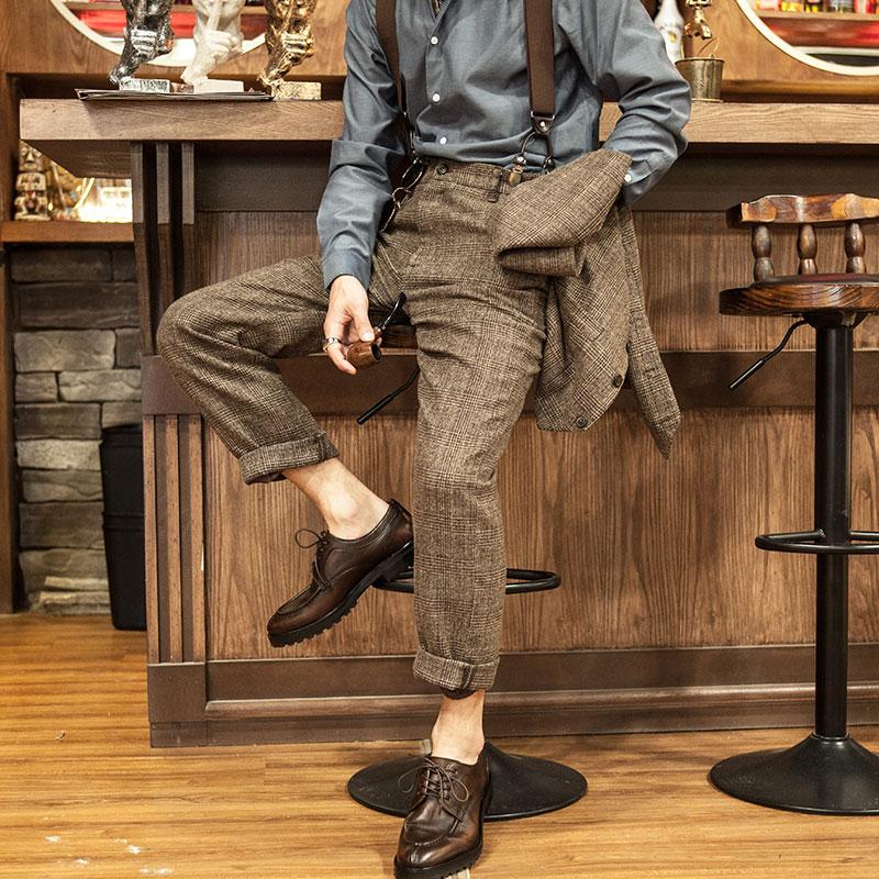 SOARIN英伦复古格子西装裤男士 商务休闲修身九分裤格纹直筒裤子