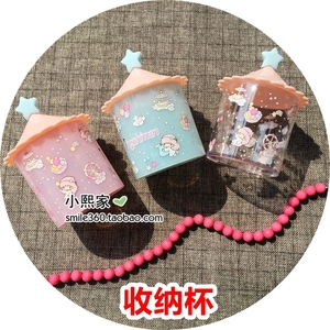 Cute creative children's hair jewelry storage cup hair ring desktop storage box little angel jewelry box with lid coin box