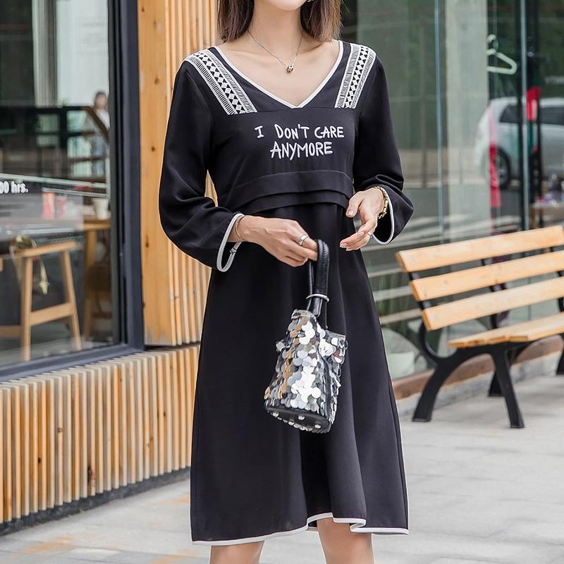 200斤胖妹妹2018chun季新款时尚减龄连衣裙胖mm加大码女装腰粗遮