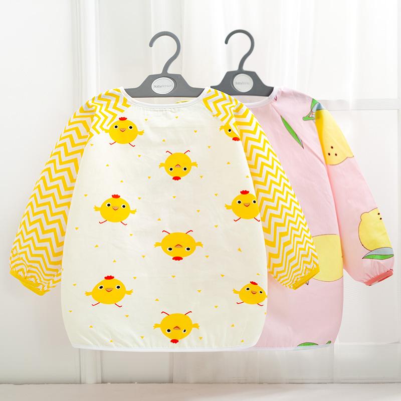 宝宝婴儿吃饭罩衣围兜秋冬长袖防水防脏男童女孩儿童围裙餐反穿衣