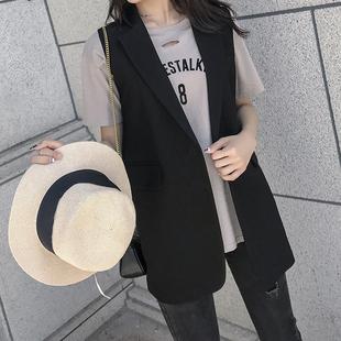 西服马甲女外套韩版中长款小个子无袖坎肩大码马夹网红背心外穿秋图片