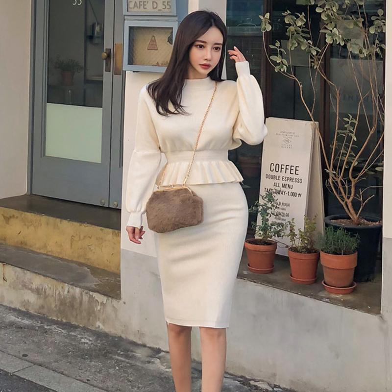 2020韩版秋冬装新款纯色高腰针织圆领长袖小衫+包臀裙套装女-衣人有约-