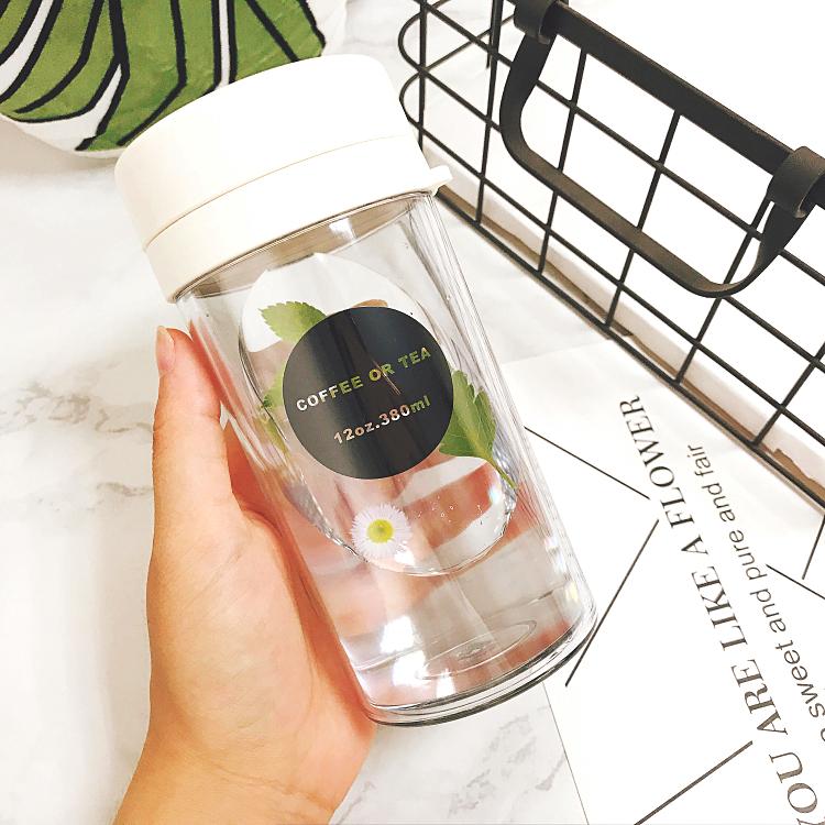 简约韩国学生运动水杯便携塑料随手杯创意水瓶夏季泡茶双层茶隔热