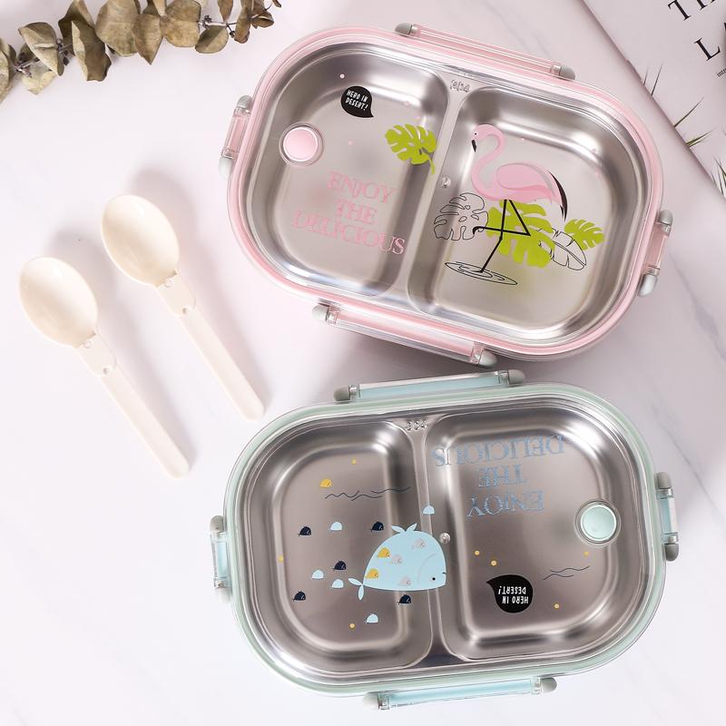 儿童304不锈钢饭盒女小学生可爱便当盒少女心带盖中学生防烫餐盒