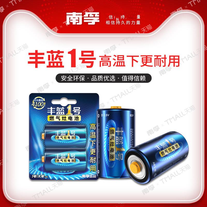 南孚丰蓝一号 1号电池大号D型燃气灶煤气灶热水器碳性干电池2节