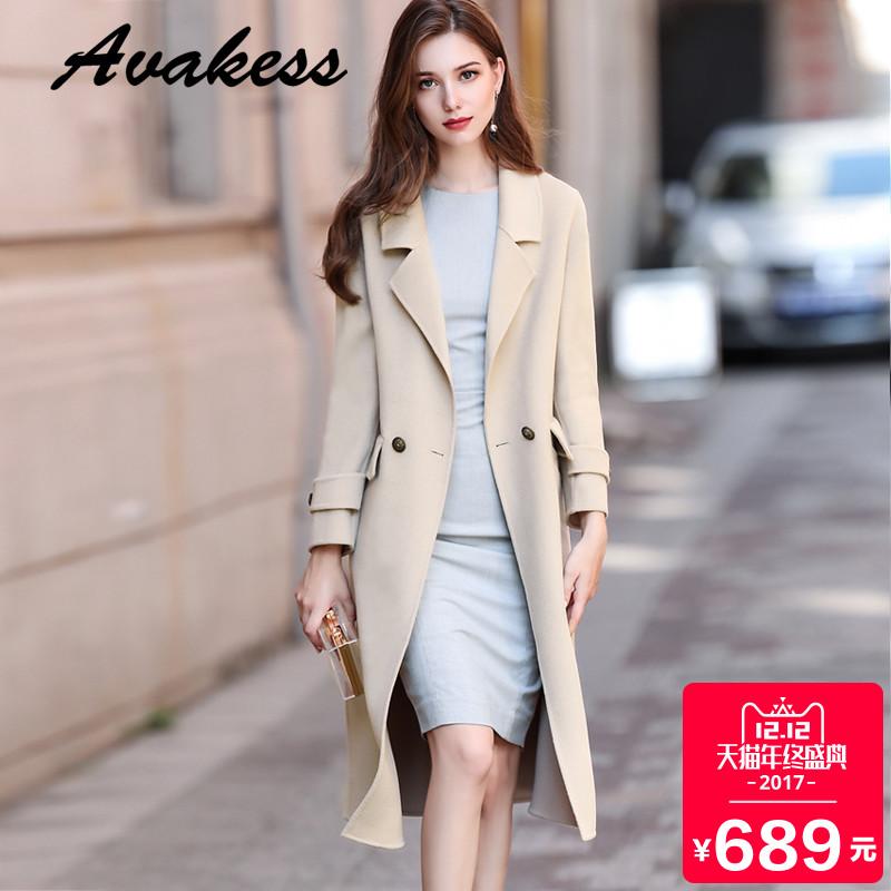 双面呢羊毛大衣2017新款韩版修身显瘦毛呢外套女中长款无羊绒