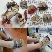夏季防滑(小)孩凉鞋 中ca7童韩款沙ra女童鞋的字拖亲子鞋软木鞋