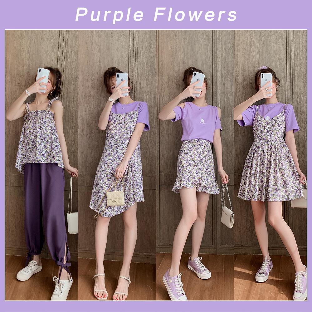 浪漫紫色碎花裙套装女2020夏季新款露肩短袖T恤减龄小个子两件套