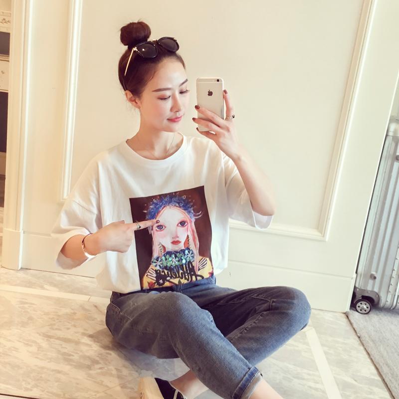2018春装新款韩版时尚chic圆领短袖上衣女孩印花宽松百搭t恤女潮