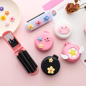 Flip-type folding massage comb rainbow airbag comb mini portable portable hair comb mirror makeup dual-use