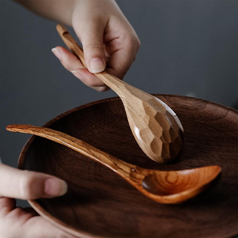 创意日式龟壳实木勺小家用吃饭用木头勺子韩式长柄木质大汤勺粥勺