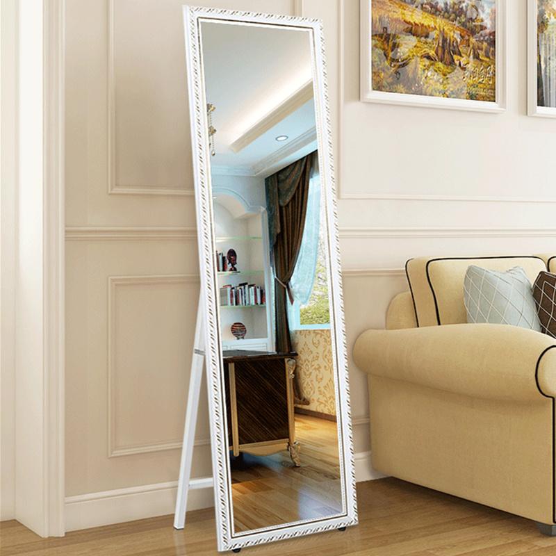 简约欧式实木穿衣镜折叠全身落地镜时尚试衣镜字镜大壁挂镜 两用