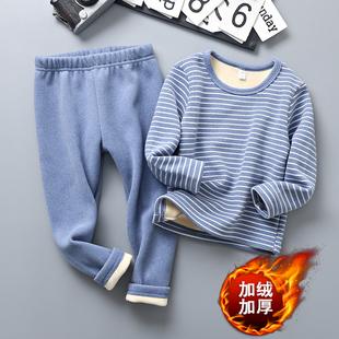 儿童保暖内衣童装加绒加厚套男童装秋衣秋裤女童冬装打底两件套潮图片