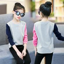 女童t恤儿童打底衫纯棉长袖体恤秋装fo14衣童装ot款(小)女孩