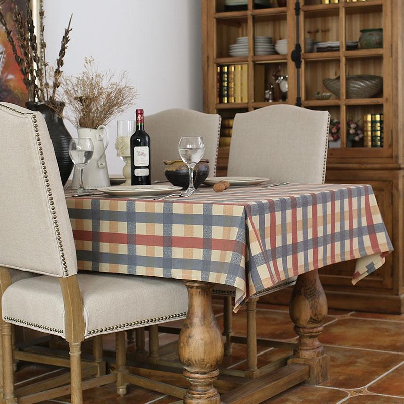 美式乡村条纹格子复古做旧风格餐厅桌布茶几布盖布书可订做