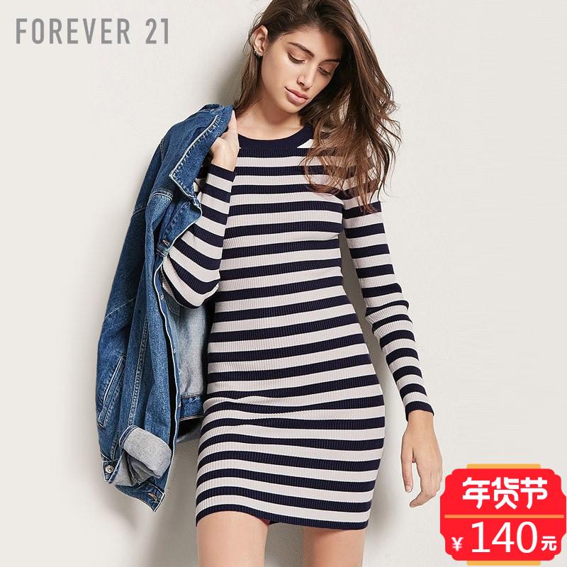 条纹修身针织连衣裙女 Forever21