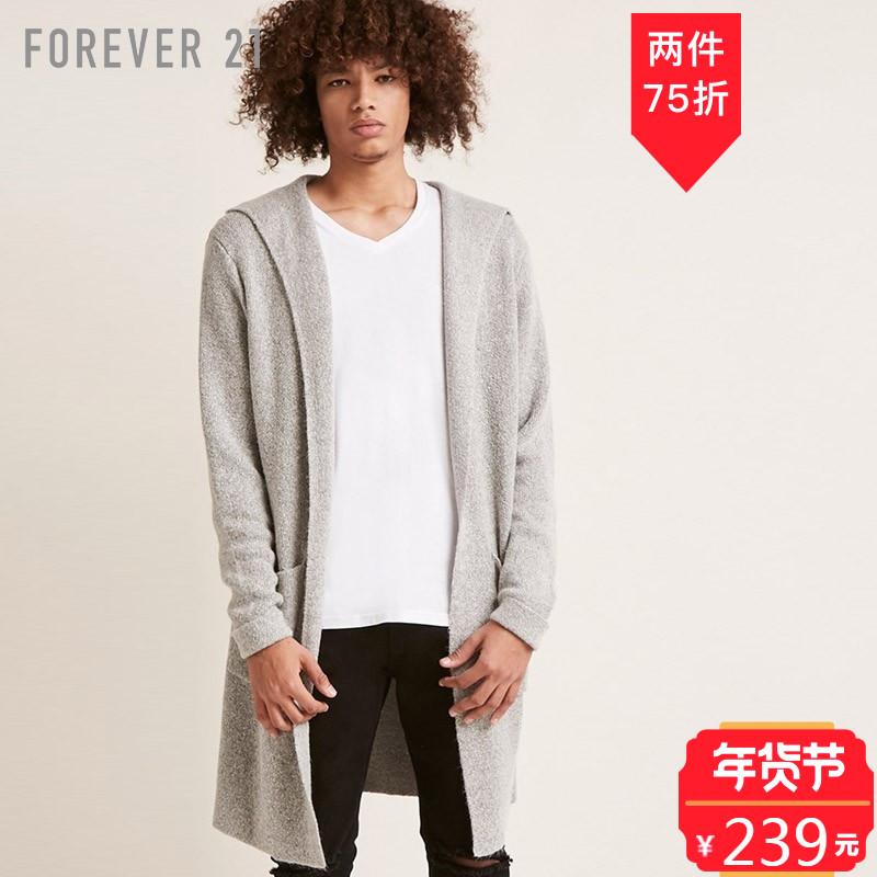 男士简约长款连帽针织开衫 Forever21