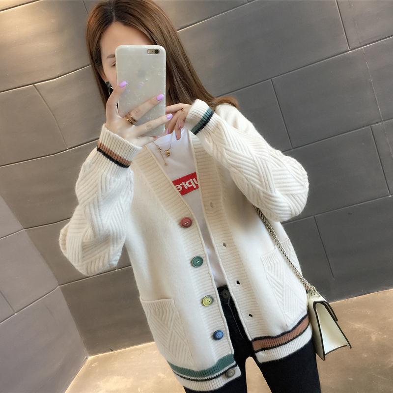 女装秋2019新款学生韩版口袋毛衣外套女宽松V领长袖针织开衫 29P