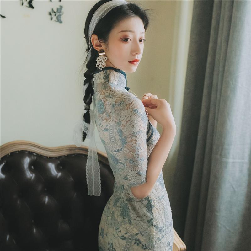 年轻款少女复古旗袍改良版连衣裙2019夏款中国风修身显瘦性感短裙