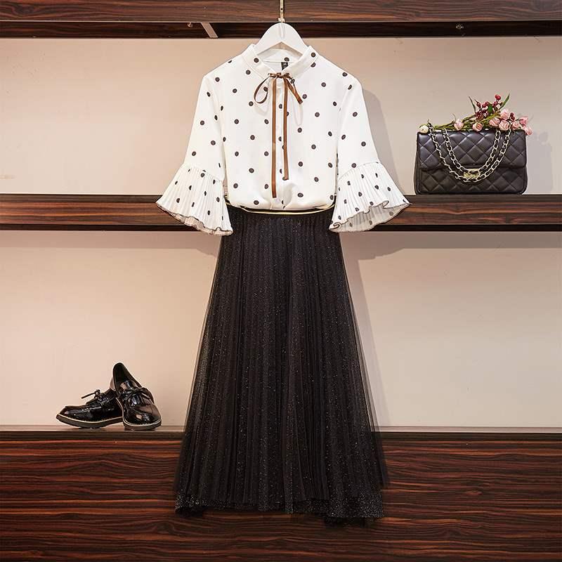 套装女2020夏季新款韩版网红波点衬衫高腰网纱仙女裙很仙的两件套