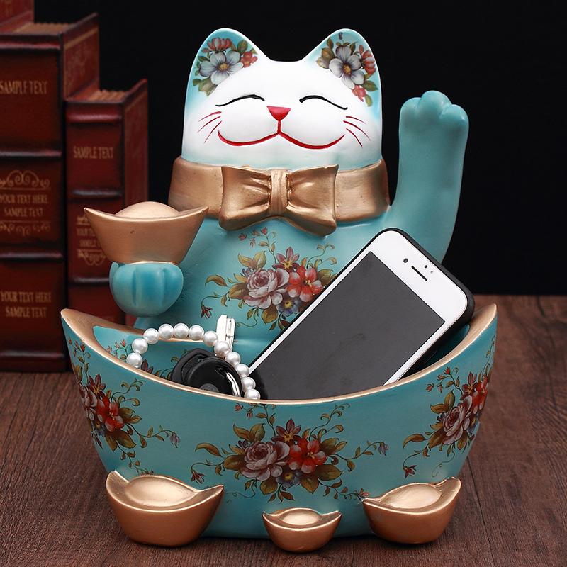 招财猫摆件家居酒柜玄关装饰品鞋柜钥匙收纳盘店铺开业创意礼品