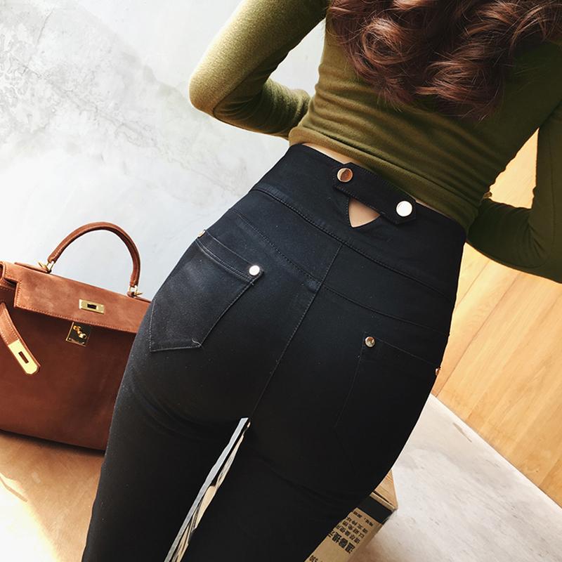 凡舒的店秋季新款韩版高腰弹力薄款双排扣显瘦打底裤女铅笔裤长裤