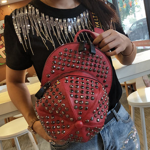 Backpack bag women bag 2019 new European and American personality fashion rivet crossbody bag chest bag large capacity hat backpack